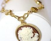 Cameo Bracelet Cameo Charm Gold Bracelet Brown Lady Silhouette Profile
