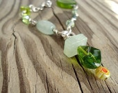 Green Bracelet Silver Jewelry May Birthstone Jewellery Chain Gift Ideas for Her Unique Asymmetric Dangle Charm
