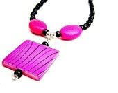 Hot Pink Necklace Black Necklace Pink and Black Fashion Jewellery Trendy Unique Handcrafted Jewelry Color Block Neon Rocker Goth