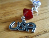 USA Necklace Red White Blue Jewelry Silver Womens Jewellery July 4th Patriotic Chain Independence Day