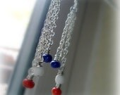 Red White Blue Jewelry Patriotic Chain Earrings Independence Day USA Jewellery Gift Under 10 Nautical