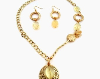Yellow Necklace - Easter Jewelry - Mother's Day Jewellery - Gold Chain - Earring Set - Pendant - Bridesmaid - Wedding