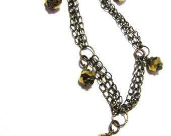 Gold Crystal Metallic Necklace - Brass Jewellery - Multichain Jewelry - Accessories - Fashion - Handmade