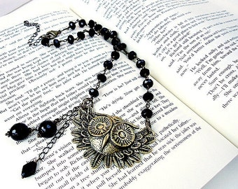 Owl Pendant Necklace-  Brass Jewelry - Black Jewellery - Crystal Beads - Swag Feather - Wisdom - Prophecy - Gift for Mom - Chain