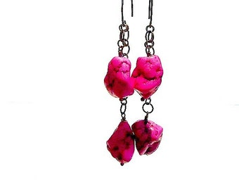 Hot Pink Earrings - Turquoise Jewelry - Brass Jewelry - Chain Earrings - Turquoise Gemstone Jewellery - Neon