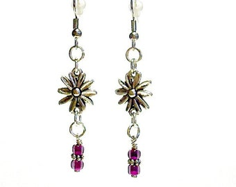 Purple Earrings Amethyst Earrings Flower Earrings February Birthstone Silver Jewelry Gemstone Dangle Pierced Earrings Gift Under 15 Floral