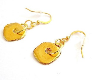 Gold Earrings Funky Jewelry Fashion Jewellery Pierced Dangle Unique Everyday Handmade ER-75