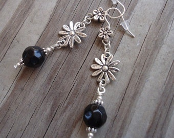 Black Earrings - Flower Jewelry - Silver Jewellery - Dangle - Minimal - Everyday - Bridesmaid Gift