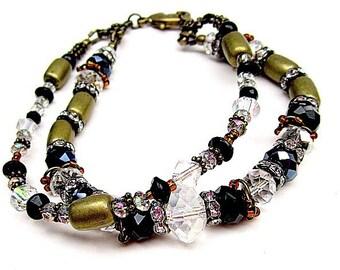 Black Bracelet - Mixed Metal Jewelry - Crystal Jewellery - Brass - Double Strand - Unique - Fashion - Funky B-47