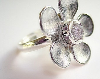 Flower Ring Silver Jewelry Crystal Jewellery Unique Handcrafted Adjustable Spring Fashion Everyday