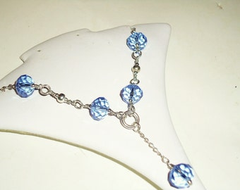 Blue Crystal Necklace - Silver Jewelry - Lariat Jewellery - Chain - Pendant - Bridesmaid - Wedding