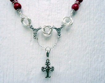 Silver Cross Necklace - Red Jewelry - Unique Handmade Religious - Chainmaille - Glass Crystal Jewellery Chain Pendant Charm