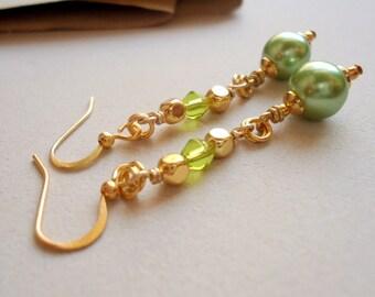 Green Earrings - Pearl Jewelry - Gold Jewellery - Fancy - Fashion - Trendy
