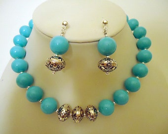 Turquoise Necklace - Silver Jewelry - Earring Set - Combo Jewellery - Chunky - Fashion