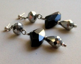 Black Earrings - Metallic Crystal Jewelry - Silver Jewellery - Glam - Luxe - Chunky