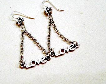 Love Earrings - Love Jewelry - Chandelier Jewelry - Silver Jewellery - Fashion - Style - Mod - Everyday - Flower