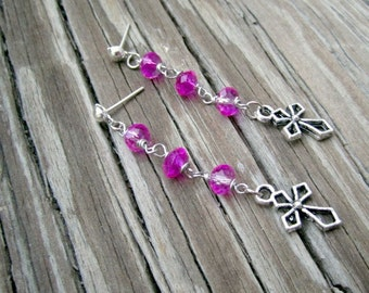 Cross Charm Earrings - Hot Pink Jewelry - Silver Jewellery - Crystal - Religious - Fashion - Style ER-64