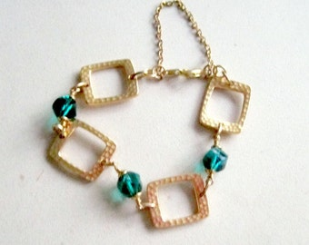 Teal Bracelet - Teal Crystal Jewelry - Gold Jewellery - Safety Chain - Luxe - Chunky - Hammered