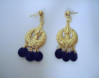 Black Earrings - Chandelier Jewelry - Gold Jewellery - Fashion - Everyday - Handmade