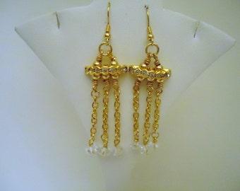 Gold Earrings - Crystal Jewellery - Fashion Jewelry - Chandelier - Dangle - Chain - Pierced - Luxe