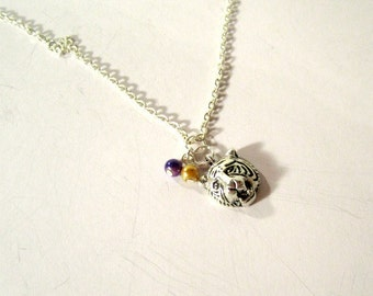 LSU Necklace College Jewelry Football Purple Gold LSU Tiger Jewellery Silver Chain Mascot Penant Charm Cat Animal