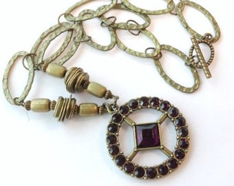 Purple Necklace - Brass Jewelry - Pendant Medallion Jewellery - Link Chain - Chunky - Hip Hop - Mod N-64