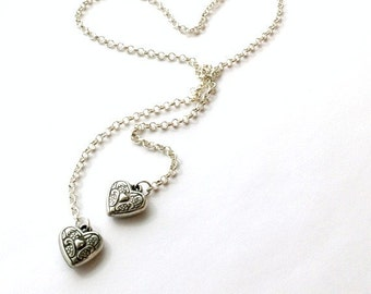 Silver Lariat Necklace - Mother Daughter Jewelry - Chain Jewellery - Wrap - Wedding - Valentine - Heart N-TBM