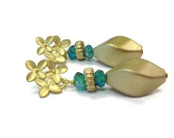 Teal Earrings - Iridescent Crystal Jewelry - Matt Gold Jewellery - Vintage Bead - Flower Posts - Fashion