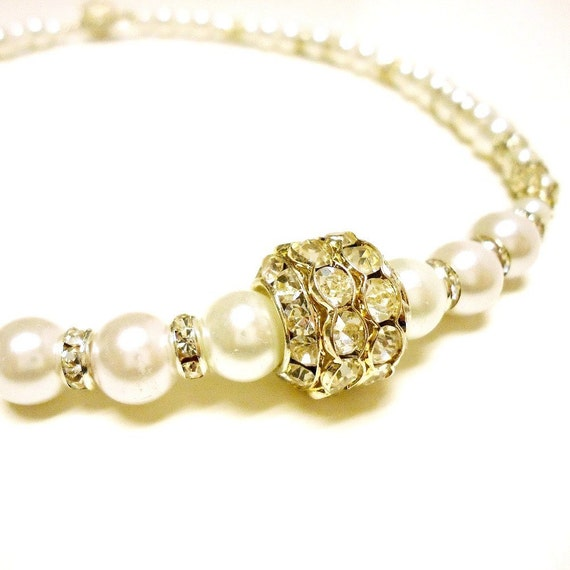 Pearl Necklace Silver Jewelry Handmade Wedding Mother of the Bride Crystal Jewellery Princess Retro Glamour Timeless