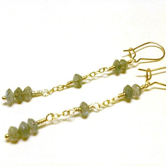 Labradorite Earrings Gray Earrings Gemstone Jewelry Gold Jewelry Grey Jewellery Vermeil Dangle Chain Pierced