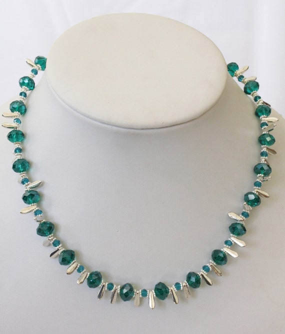 Teal Necklace - Silver Jewelry - Crystal Jewellery - Beaded - Glam - Fashion