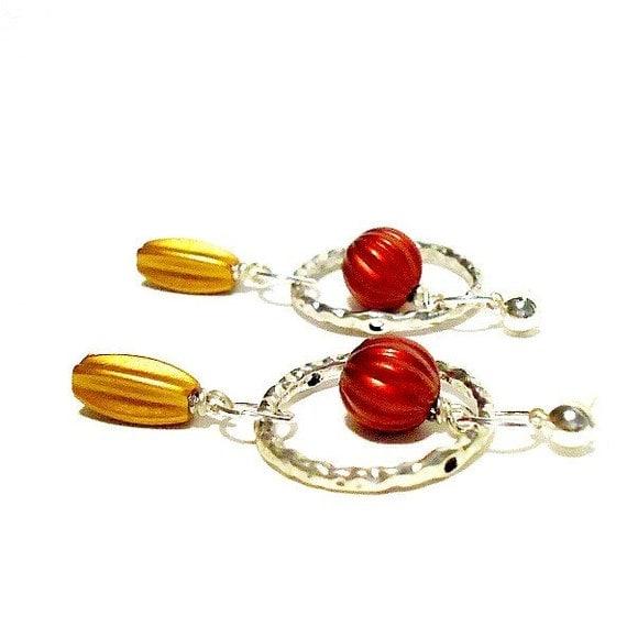 Hoop Earrings - Metallic Jewelry - Silver Jewellery - Mixed Metal - Red - Gold - Dangle