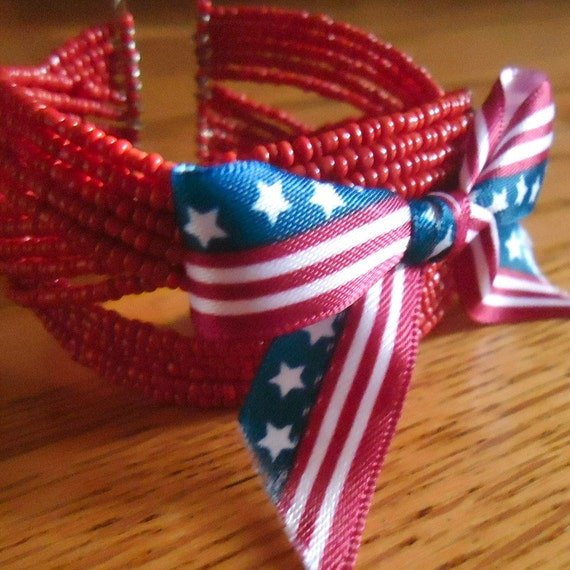 Red Bracelet Red White Blue Jewelry Bow Ribbon Cuff Patriotic Stars and Stripes Jewellery July 4th Independence Day USA