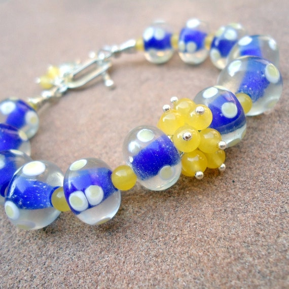 Blue and Yellow Bracelet Jade Gemstone Jewellery Silver Jewelry Unique Cluster Sun Bright Colorful Gift Ideas B-2