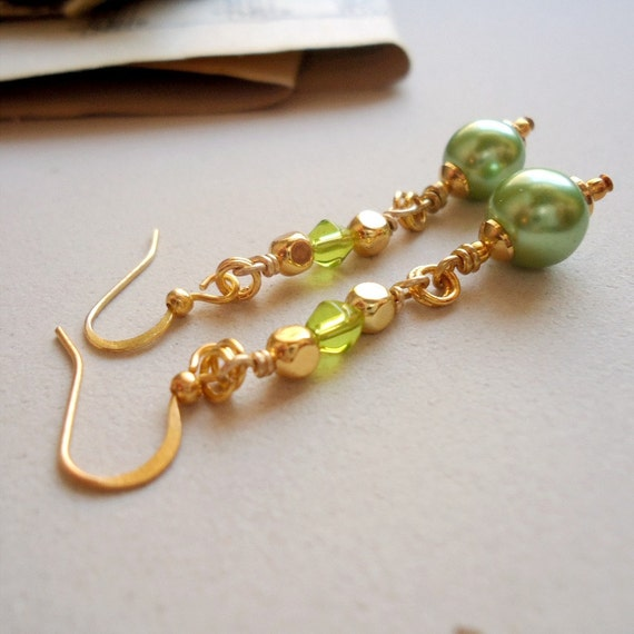 Green Earrings - Pearl Jewelry - Gold Jewellery - Fancy - Fashion - Trendy