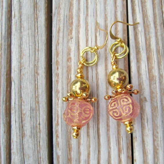 Pink Earrings - Pink Jewelry - Gold Jewelry - Etched Jewellery - Fashion - Trendy