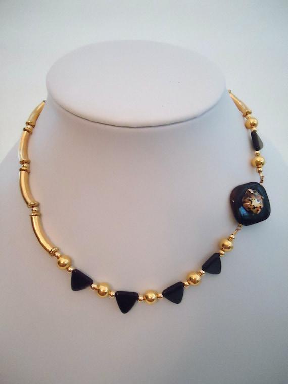 Black Necklace Leopard Jewelry Asymmetric Animal Jewellery Gold Jewelry Handmade Gemstone Custom Beaded Tribal Geometric