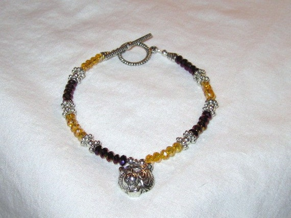 Purple & Gold Bracelet - LSU Jewelry - Tiger Charm Jewellery - College Football - Gold