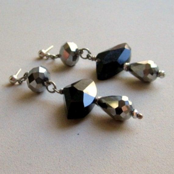 Black Earrings - Metallic Crystal Jewelry - Silver Jewellery - Glam - Luxe - Chunky