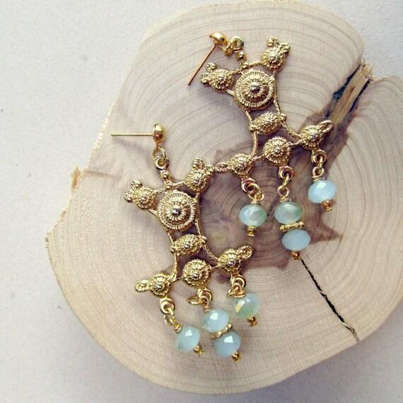 Blue Green Earrings Chandelier Earrings Gold Jewelry Crystal Jewellery