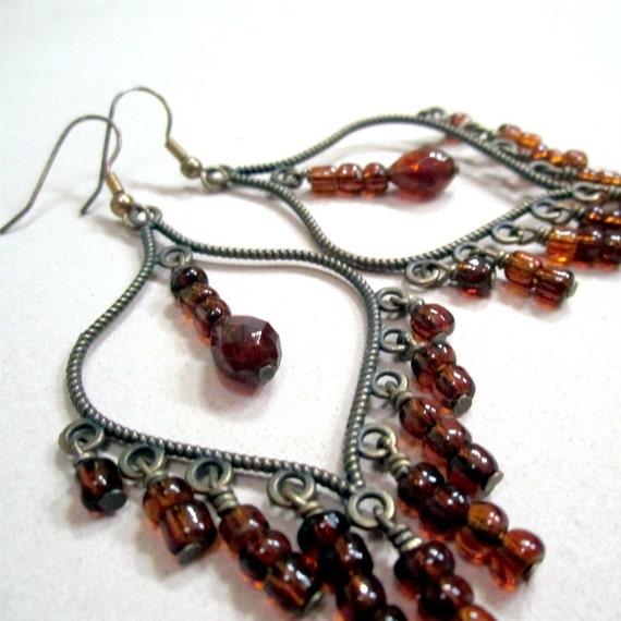 Brown Chandelier Earrings Brass Jewelry Trendy Jewellery Dangle Earth Tones Mod Funky Everyday