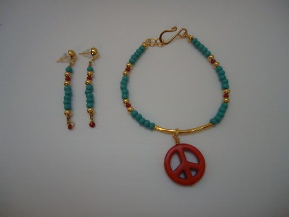 Turquoise Bracelet Skinny Bracelet Peace Sign Jewelry Bracelet Earring Set Red Jewelry Earrings Charm Combo Hippie Unique Anti War