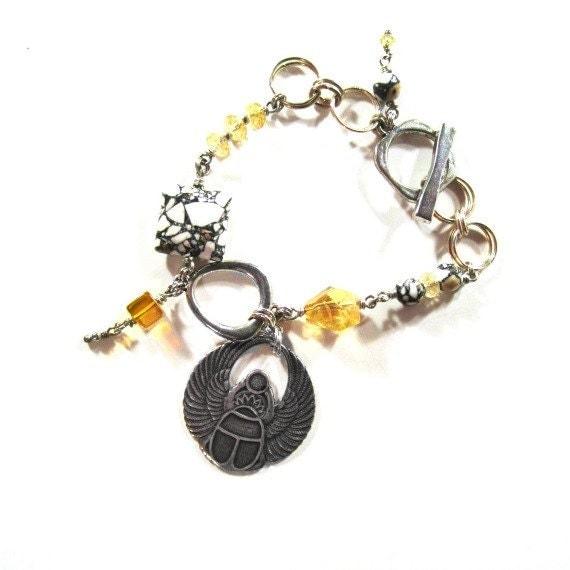 Citrine Bracelet - Yellow Gemstone Jewelry - Egyptian Scarab Charm - Mosaic Jasper Jewellery - Asymmetric B-57