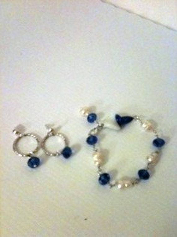 Royal Blue Bracelet Pearl Jewelry Bracelet Earring Combo Blue and White Crystal Jewellery Unique Jewelry Set