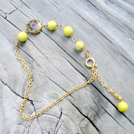 Yellow Bracelet Gold Jewelry Turquoise Gemstone Jewellery Thin Layer Stack Dainty Metal Cabochon Unique Handcrafted Chain B-88