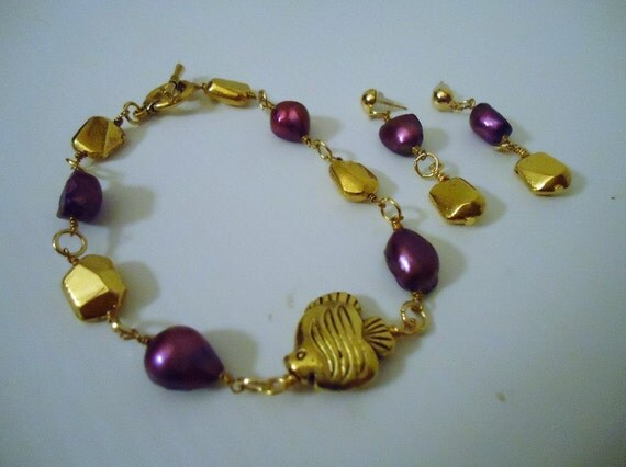 Purple Bracelet - Fish Jewelry - Jewellery Set - Yellow Gold - Mother's Day Gift - Fashion