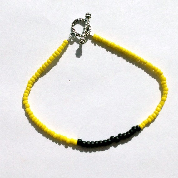 Yellow and Black Bracelet - Silver Jewelry - Skinny Jewellery - Beaded - Thin - Stack - Layer - Everyday  B-83
