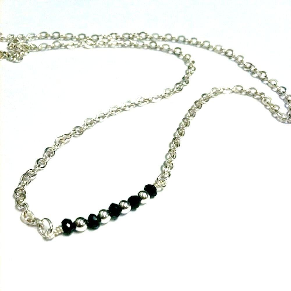 black necklace black jewelry spinel necklace spinel jewelry