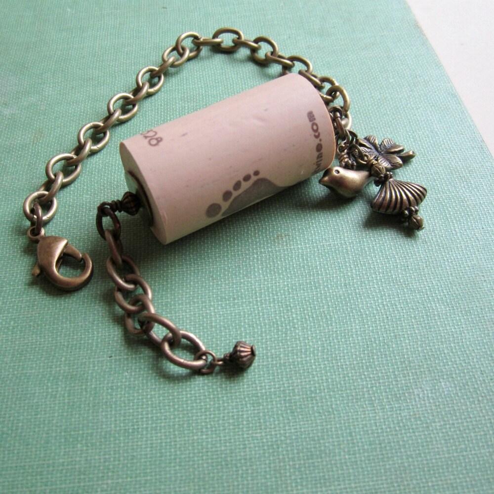 Cork Beads: Wine Cork Bracelet Wine Cork Jewelry Brass Jewellery Charms