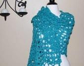 Teal Bamboo/Wool Crochet Wrap